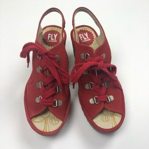 Fly London red lace up wedges size 6 (36 eur)
